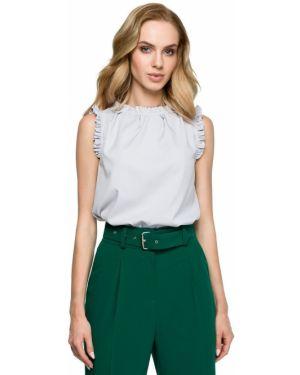 Bluzka bez rękawów jedwabna z falbankami Style