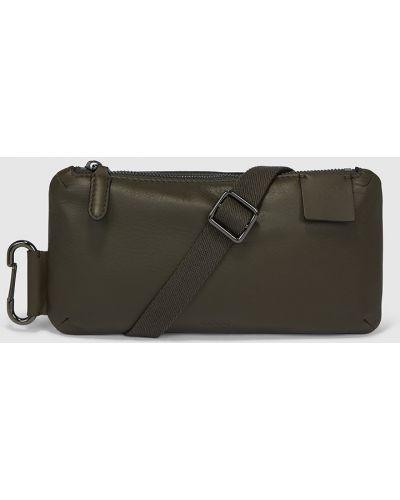 Кожаная поясная сумка - зеленая Ecco