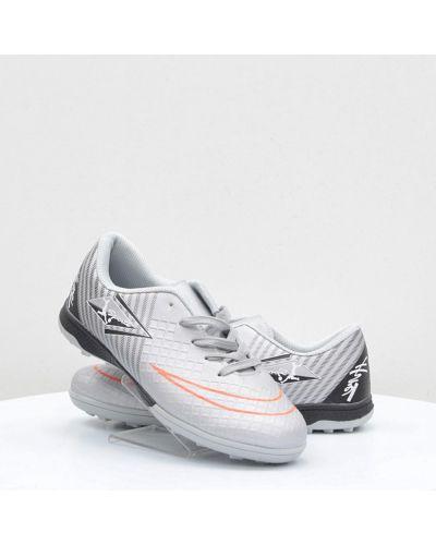 Серые кожаные кроссовки среднего размера Caroc