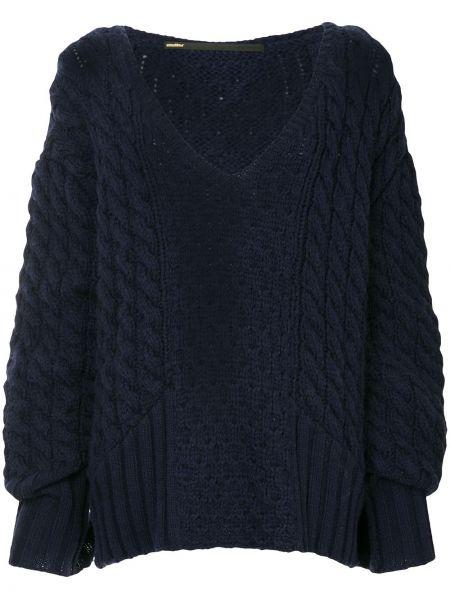 Синий акриловый свитер оверсайз с вырезом Muller Of Yoshiokubo