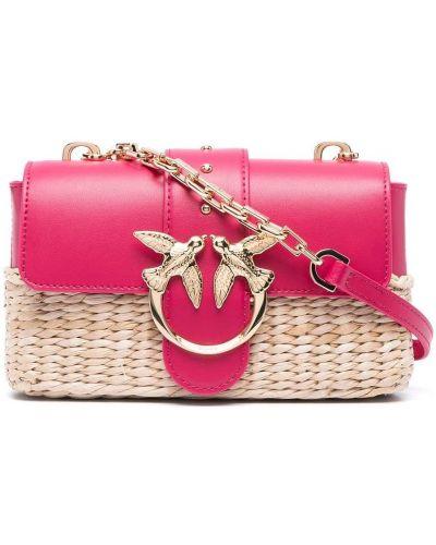Розовая соломенная кожаная сумка на плечо Pinko