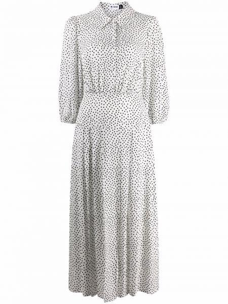 Biała sukienka długa z długimi rękawami w grochy Rixo