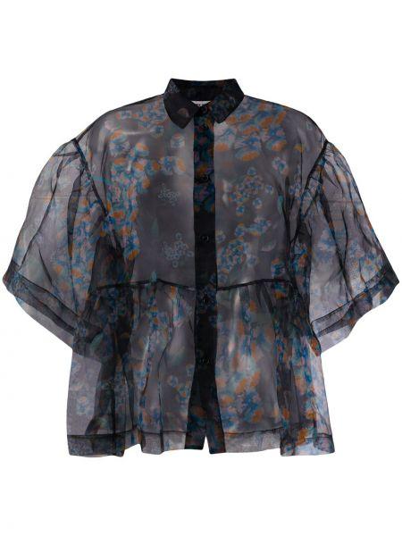 Черная классическая рубашка с воротником прозрачная Henrik Vibskov