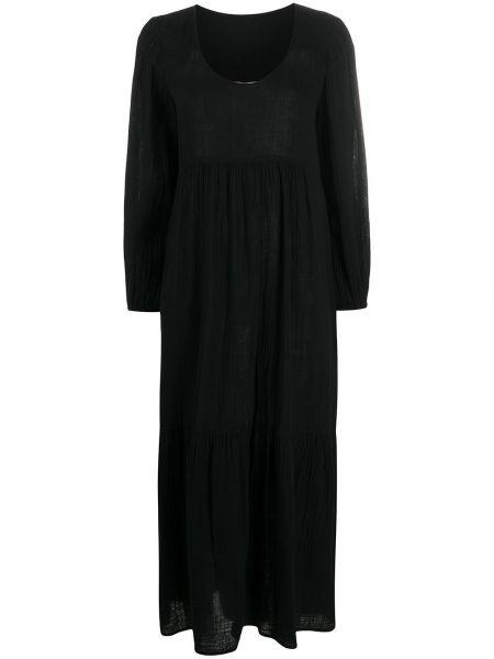 Хлопковое черное платье макси с длинными рукавами с карманами Raquel Allegra