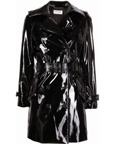 Черное длинное пальто двубортное с карманами Saint Laurent