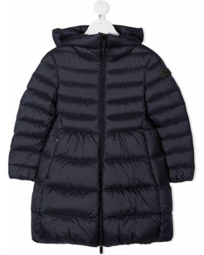 С рукавами синяя длинная куртка с капюшоном Il Gufo
