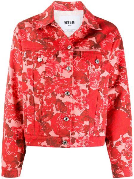 Хлопковая джинсовая куртка - красная Msgm