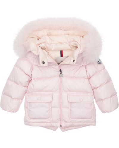 Puchaty różowy kurtka z kapturem z futrem prążkowany Moncler