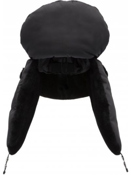 Czarny kapelusz srebrny Prada