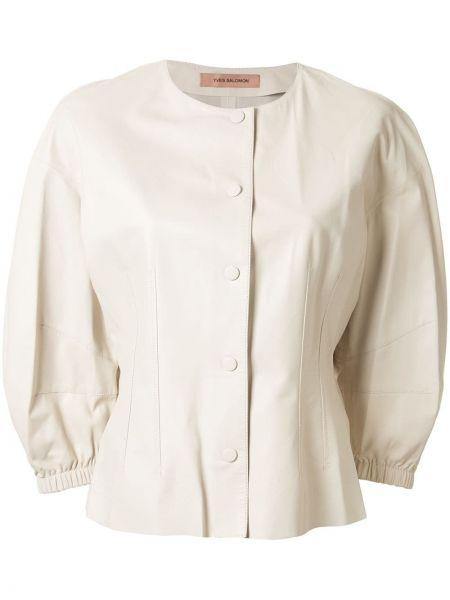 Белый кожаный пиджак на пуговицах Yves Salomon