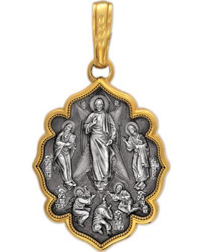 Золотистый серебряный крест с декоративной отделкой позолоченный акимов