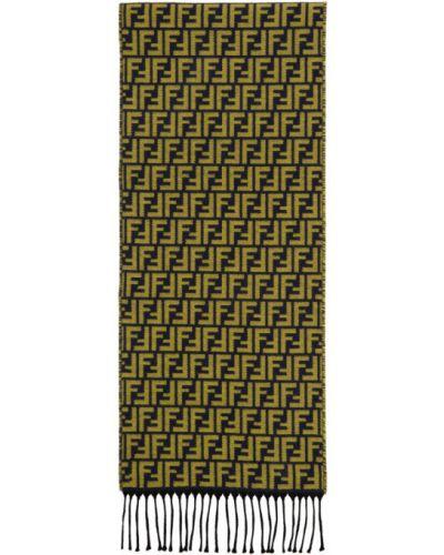 Желтый шерстяной шарф прямоугольный Fendi
