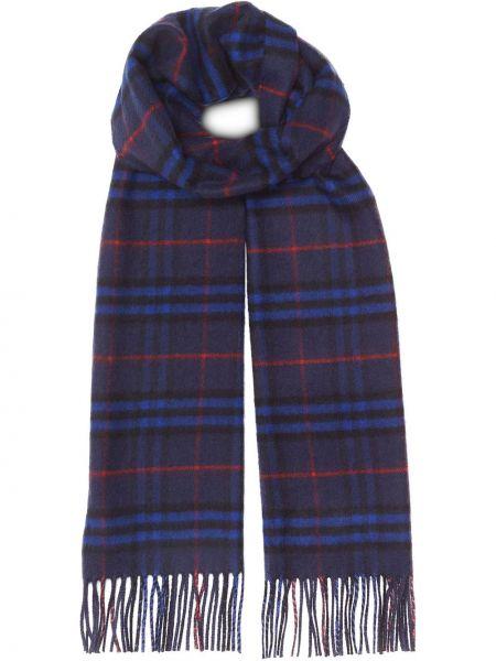 Синий кашемировый шарф в клетку Burberry