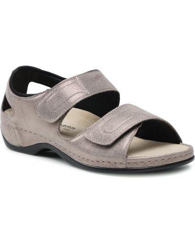 Szare brokatowe sandały Berkemann