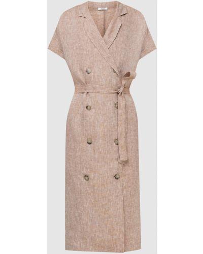 Льняное платье миди - бежевое Peserico