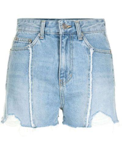 Джинсовые шорты с бахромой - синие Sjyp