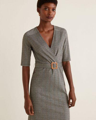 Платье мини с поясом прямое Mango