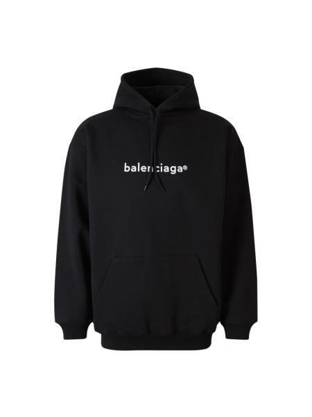 Czarna bluza długa z kapturem oversize Balenciaga