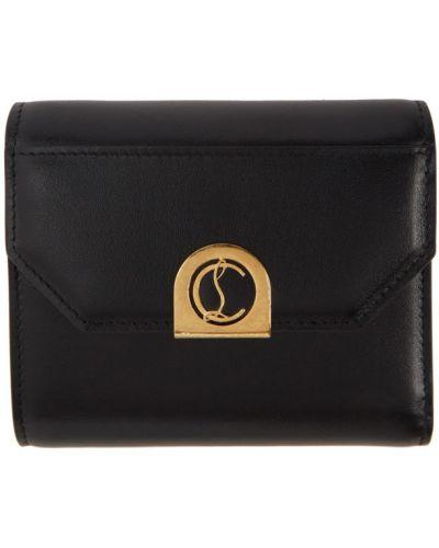Czarny portfel skórzany z prawdziwej skóry z gniazdem prążkowany Christian Louboutin