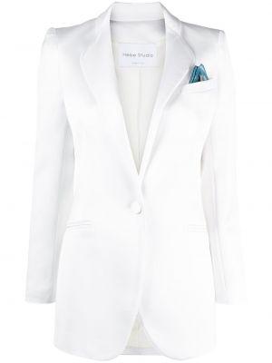 Однобортный приталенный белый удлиненный пиджак Hebe Studio