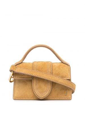 Золотистая желтая кожаная маленькая сумка Jacquemus