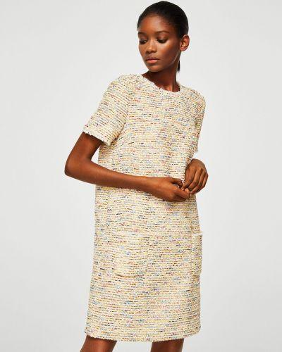 Платье мини с поясом в клетку прямое Mango