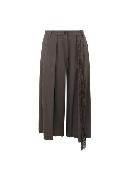 Кожаные повседневные серые свободные брюки свободного кроя Isabel Benenato