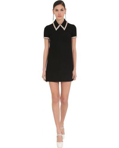 Черное платье мини с воротником с короткими рукавами Miu Miu