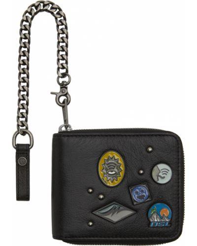 Черный кошелек с карманами Diesel
