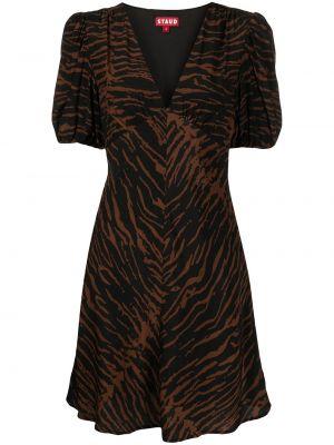 Платье миди с короткими рукавами - коричневое Staud