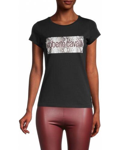 Ватная хлопковая черная футболка Roberto Cavalli