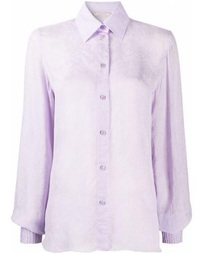 Фиолетовая классическая рубашка с воротником на пуговицах Nina Ricci