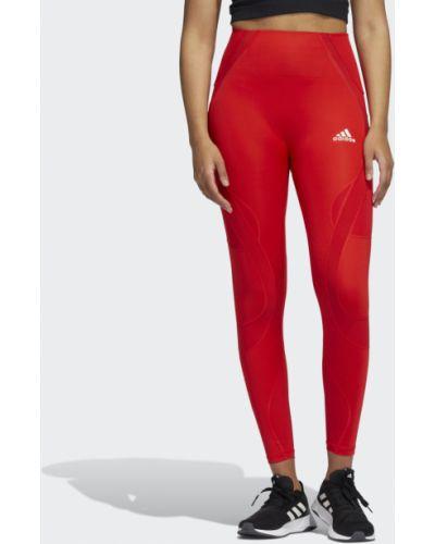 Спортивные красные леггинсы для фитнеса Adidas