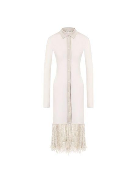 Шерстяное белое мягкое платье с бахромой Bottega Veneta