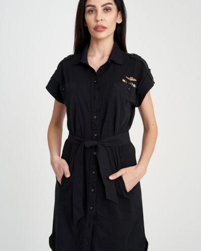 Платье рубашка - черное Aeronautica Militare