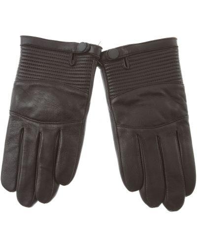 Rękawiczki skorzane pikowane zapinane na guziki Armani Exchange