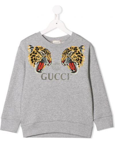 Толстовка с принтом серая Gucci Kids