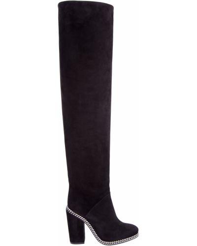 Ботинки на каблуке черные замшевые Balmain