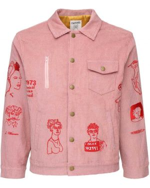 Różowa kurtka z haftem bawełniana Kidsuper Studios