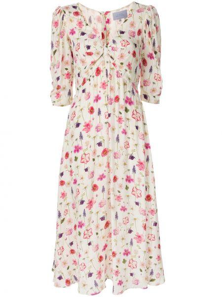 С рукавами платье миди с V-образным вырезом из вискозы Luisa Beccaria