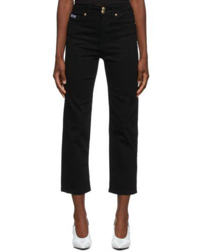 Черные прямые укороченные джинсы с карманами Versace Jeans Couture
