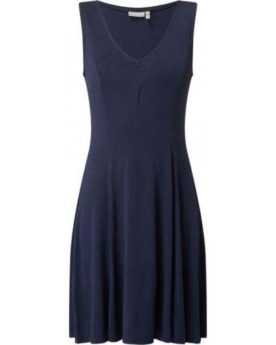 Niebieska sukienka rozkloszowana z wiskozy Fransa