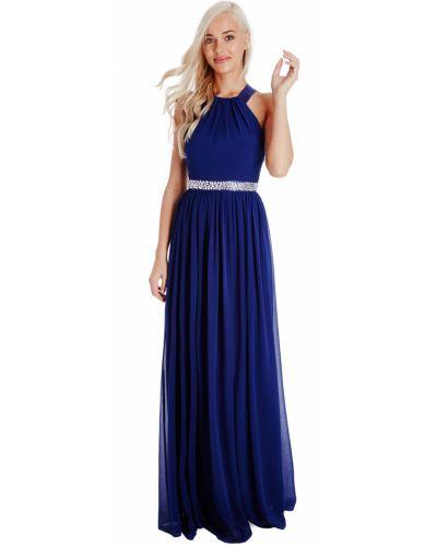 Открытое синее вечернее платье с открытой спиной Goddiva