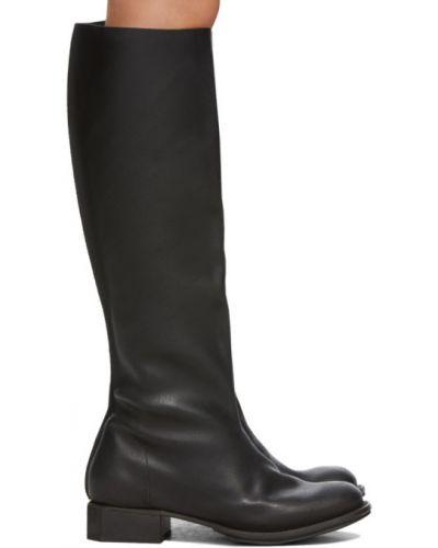Черные сапоги с высоким голенищем до середины колена круглые с круглым носом Cherevichkiotvichki
