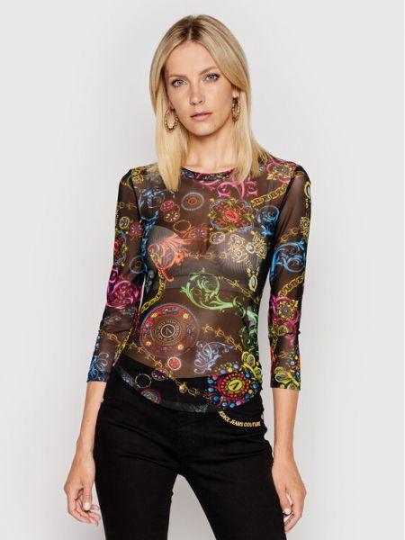 Wielokolorowa bluzka tiulowa z printem Versace Jeans Couture