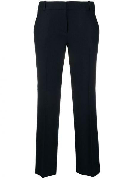 Синие акриловые прямые укороченные брюки с потайной застежкой Drumohr