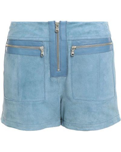 Синие кожаные шорты с карманами Victoria Victoria Beckham