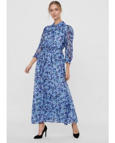 Синее платье-рубашка Vero Moda