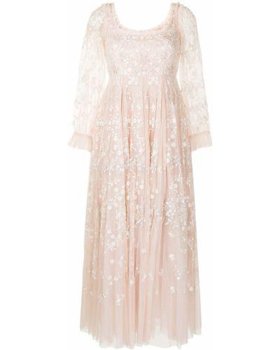 Розовое платье с вышивкой Needle & Thread