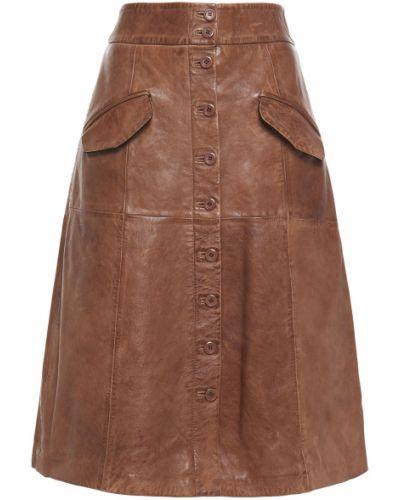 Коричневая кожаная юбка с карманами Walter Baker